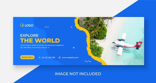Couverture de médias sociaux de voyage et modèle de bannière web