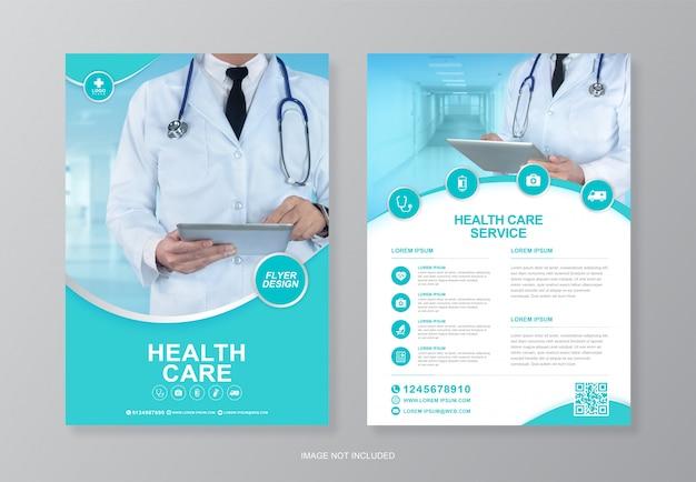 Couverture médicale et médicale d'entreprise, modèle de conception de flyer a4 au verso et icônes plates