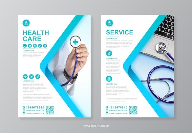 Couverture médicale et médicale d'entreprise et modèle de conception de flyer a4 de la page arrière pour l'impression