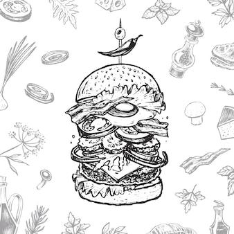 Couverture de menu burger pour restaurant. design vintage