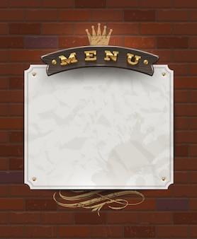 Couverture de menu avec couverts dorés et éléments décoratifs
