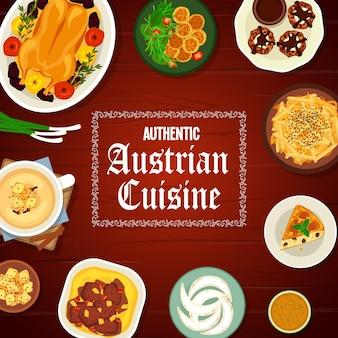 Couverture de menu de repas de restaurant de cuisine autrichienne