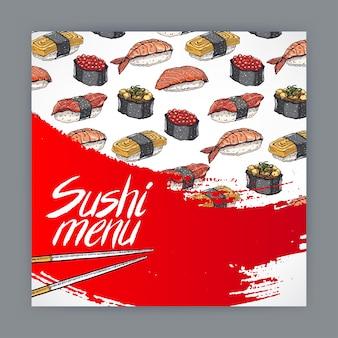Couverture mignonne pour le menu de sushi