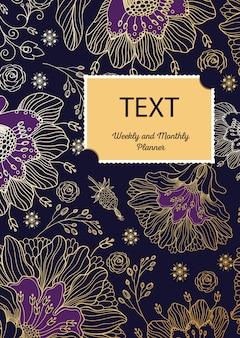 Couverture de mise en page de modèle. composition florale.