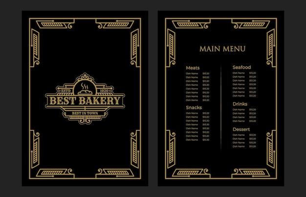 Couverture de modèle de carte de menu de nourriture de boulangerie vintage de luxe avec logo pour café-bar de l'hôtel