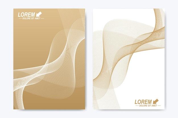 Couverture de modèle moderne au format a4. présentation avec des vagues dorées.