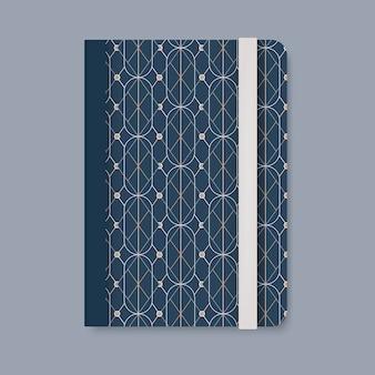 Couverture de motif géométrique doré d'un vecteur de journal bleu