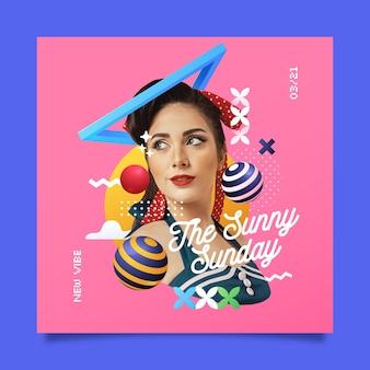 Couverture musicale carrée avec collage vintage