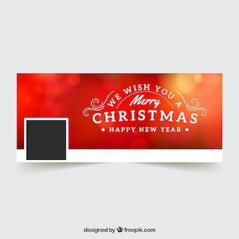 Couverture de noël rouge pour facebook avec un effet flou