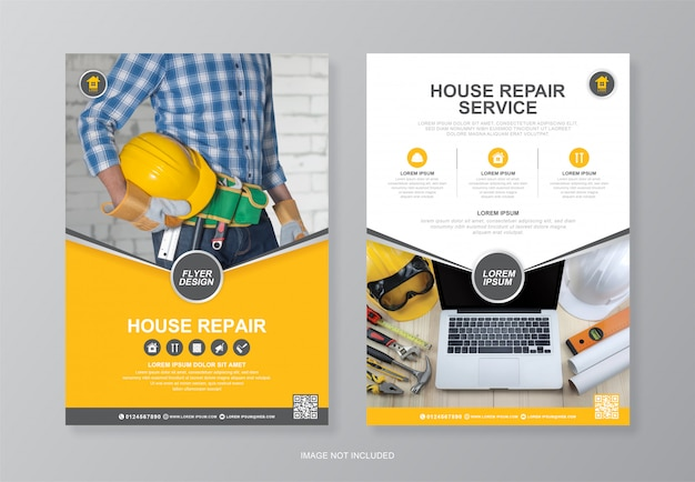 Couverture d'outils de construction d'entreprise, modèle de conception de flyer a4 au verso et icônes plates