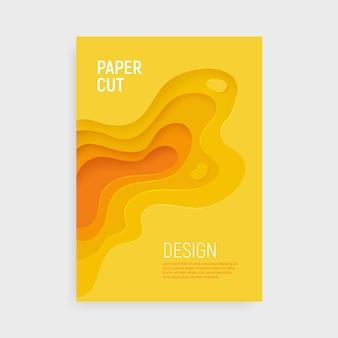 Couverture en papier jaune avec fond abstrait 3d slime et couches de vagues jaunes.