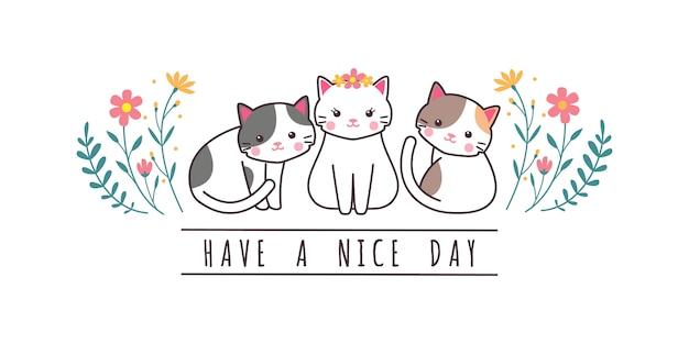 Couverture de papier peint mignon chat chaton famille salutation dessin animé doodle