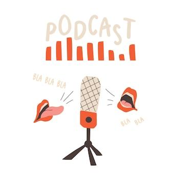 Couverture de podcast microphone de studio sur une onde sonore de support et bouches ouvertes