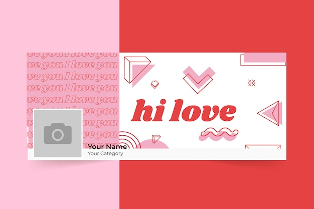 Couverture de publication de médias sociaux de la saint-valentin minimaliste géométrique