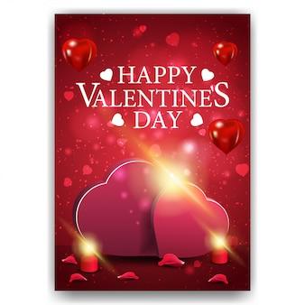 Couverture rouge saint valentin avec deux coeurs