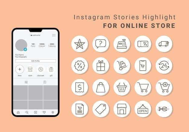 Couverture en surbrillance des histoires instagram pour la boutique en ligne