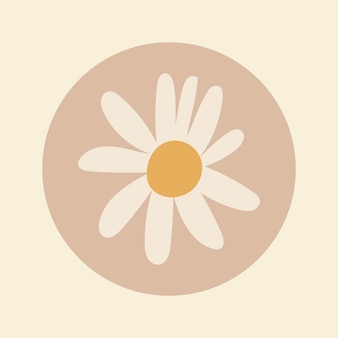 Couverture de surbrillance de la nature instagram, doodle de fleurs dans le vecteur de conception de tons de terre