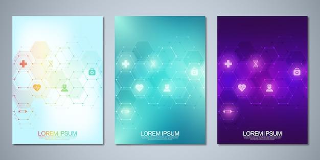 Couverture de symbole de chimie abstraite avec des formules chimiques et des structures moléculaires, un concept et une idée pour la technologie de la science et de l'innovation.