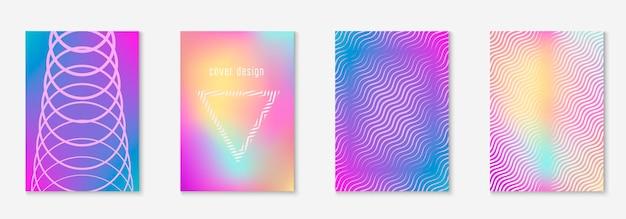 Couverture tendance minimaliste. holographique. livret numérique, dépliant, rapport annuel, mise en page. couverture tendance minimaliste avec des éléments et des formes géométriques en ligne.