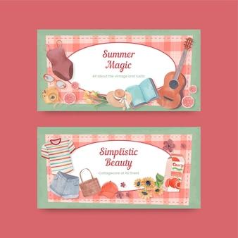 Couverture twitter avec concept de cottagecore d'été, style aquarelle