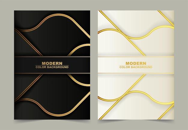 Couverture de vague abstraite de ligne d'or de luxe