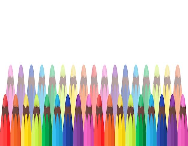 Couverture de vecteur avec des crayons de couleur arc-en-ciel place pour le texte