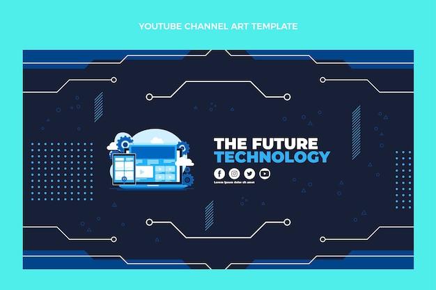 Couverture youtube de technologie minimaliste design plat