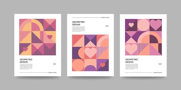 Couvertures abstraites géométriques avec coeurs