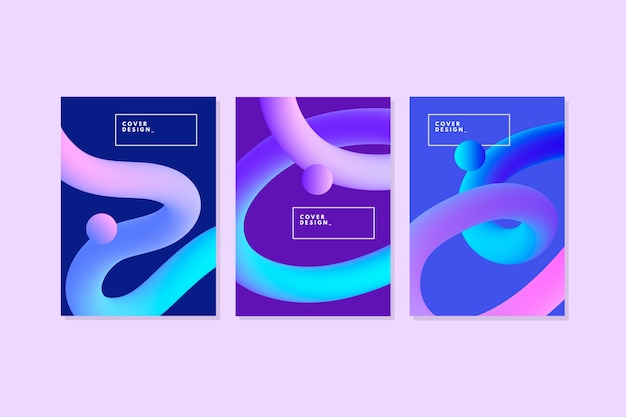 Couvertures abstraites de lignes courbes dégradées 3d
