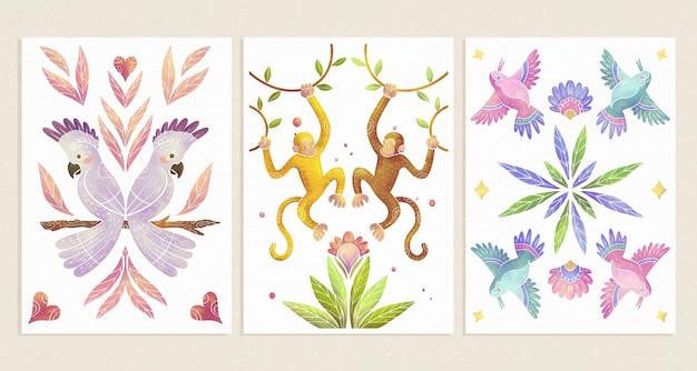 Couvertures d'animaux sauvages à l'aquarelle