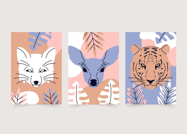 Couvertures d'animaux sauvages dessinés à la main
