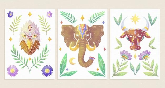 Couvertures d'animaux sauvages peintes à la main