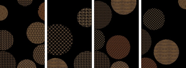 Couvertures avec des cercles et différents motifs géométriques dorés