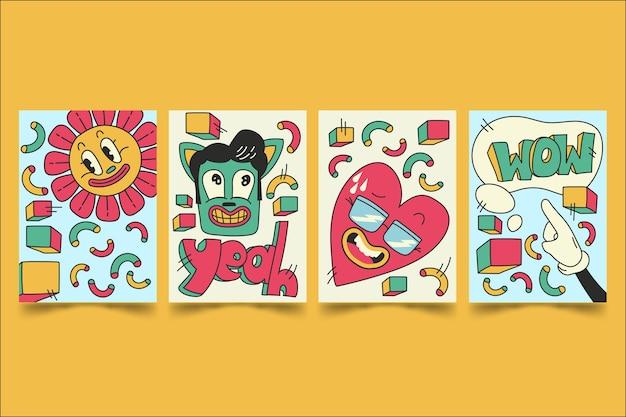 Couvertures de dessins animés à la mode de style dessinés à la main