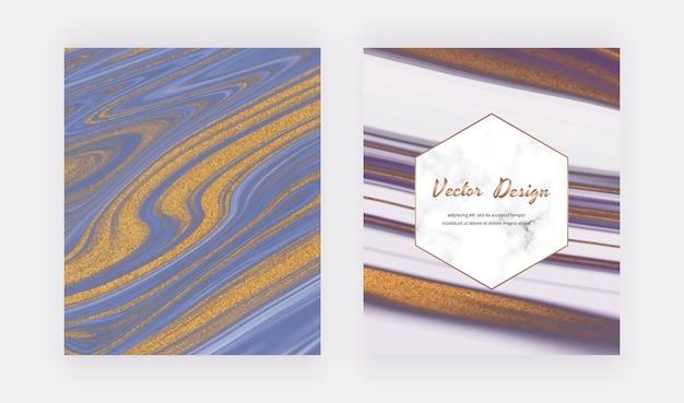 Couvertures d'encre liquide bleues et violettes.