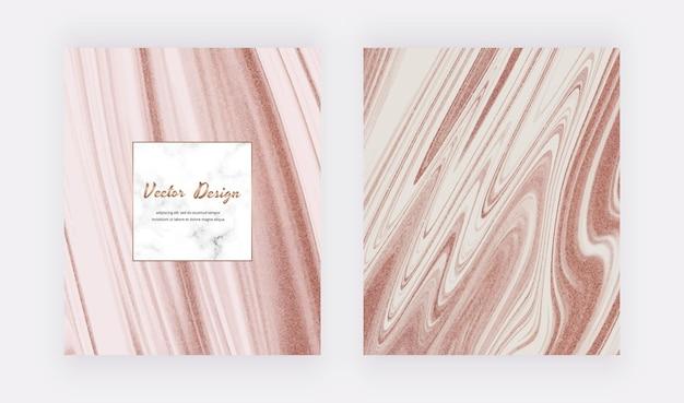 Couvertures d'encre liquide en or rose pour invitations