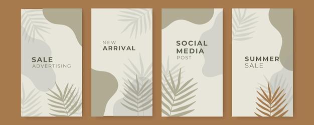 Couvertures de feuilles tropicales abstraites avec décoration de feuilles et de taches d'art au trait de feuillage