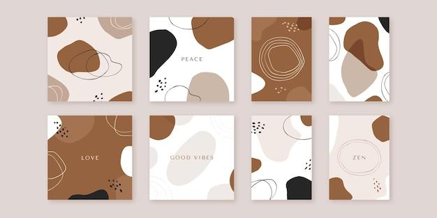 Couvertures de formes abstraites design plat dessinés à la main