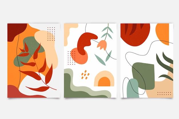 Couvertures de formes dessinées à la main abstraites colorées