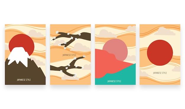Couvertures japonaises colorées minimales