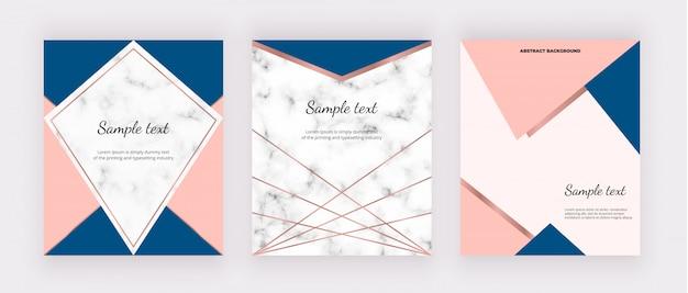 Couvertures modernes avec marbre, dessin géométrique, lignes dorées roses, formes triangulaires roses et bleues