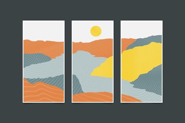 Couvertures de paysage abstrait dessinés à la main