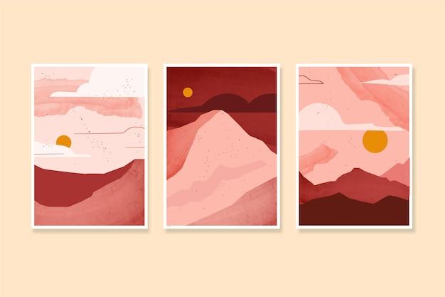 Couvertures de paysage minimaliste aquarelle