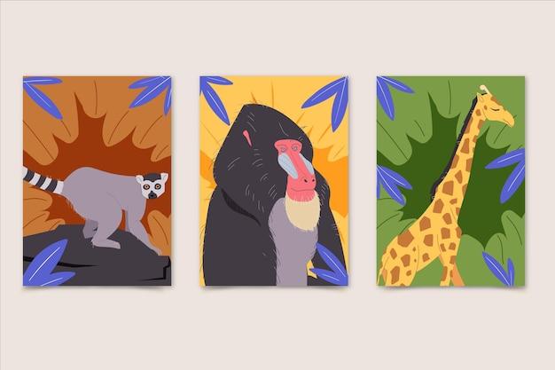 Couvertures plates d'animaux sauvages
