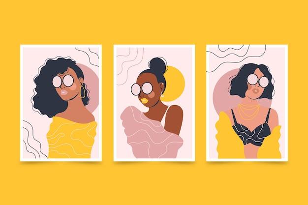 Couvertures de portraits de mode à la mode dessinés à la main