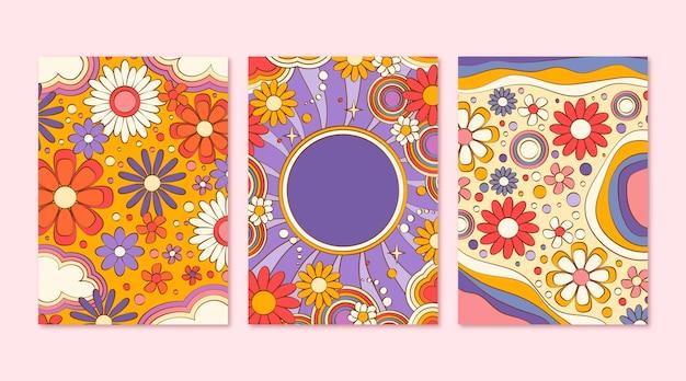 Couvertures psychédéliques groovy dessinées à la main