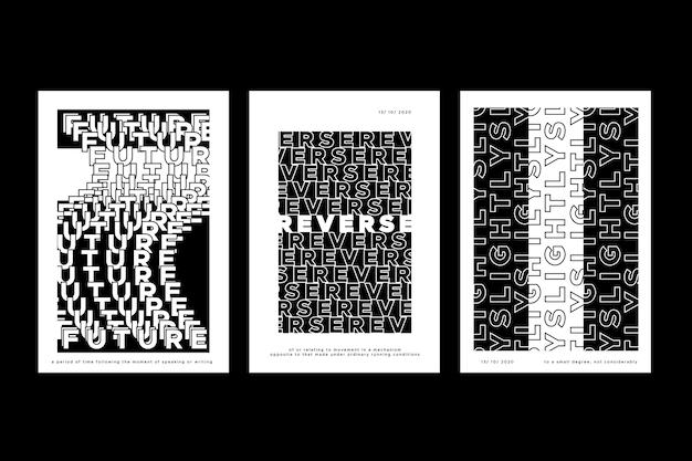 Couvertures de répétition de texte minimalistes en noir et blanc