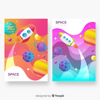 Couvertures spatiales colorées abstraites