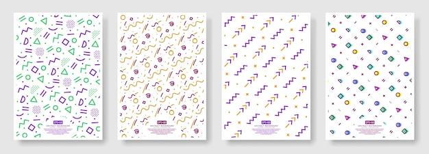 Couvertures de style memphis, fond transparent disponible dans le panneau nuancier