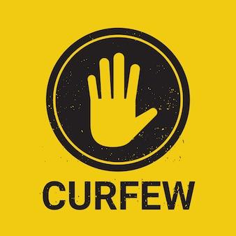 Couvre-feu signe aucune entrée main stop signe geste illustration vectorielle